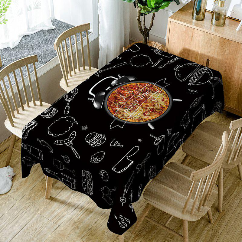 Pizza Clock Pattern Waterproof Table Cloth - BLACK W60 INCH * L84 INCH