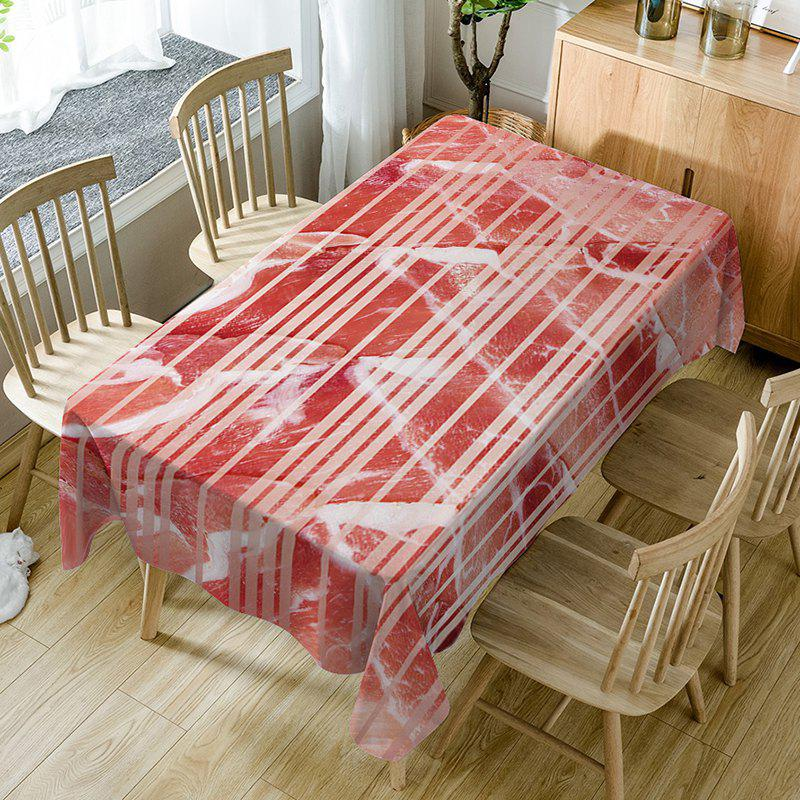 Stripe Meat Pattern Tissu de table imperméable - Rouge W54 INCH * L72 INCH