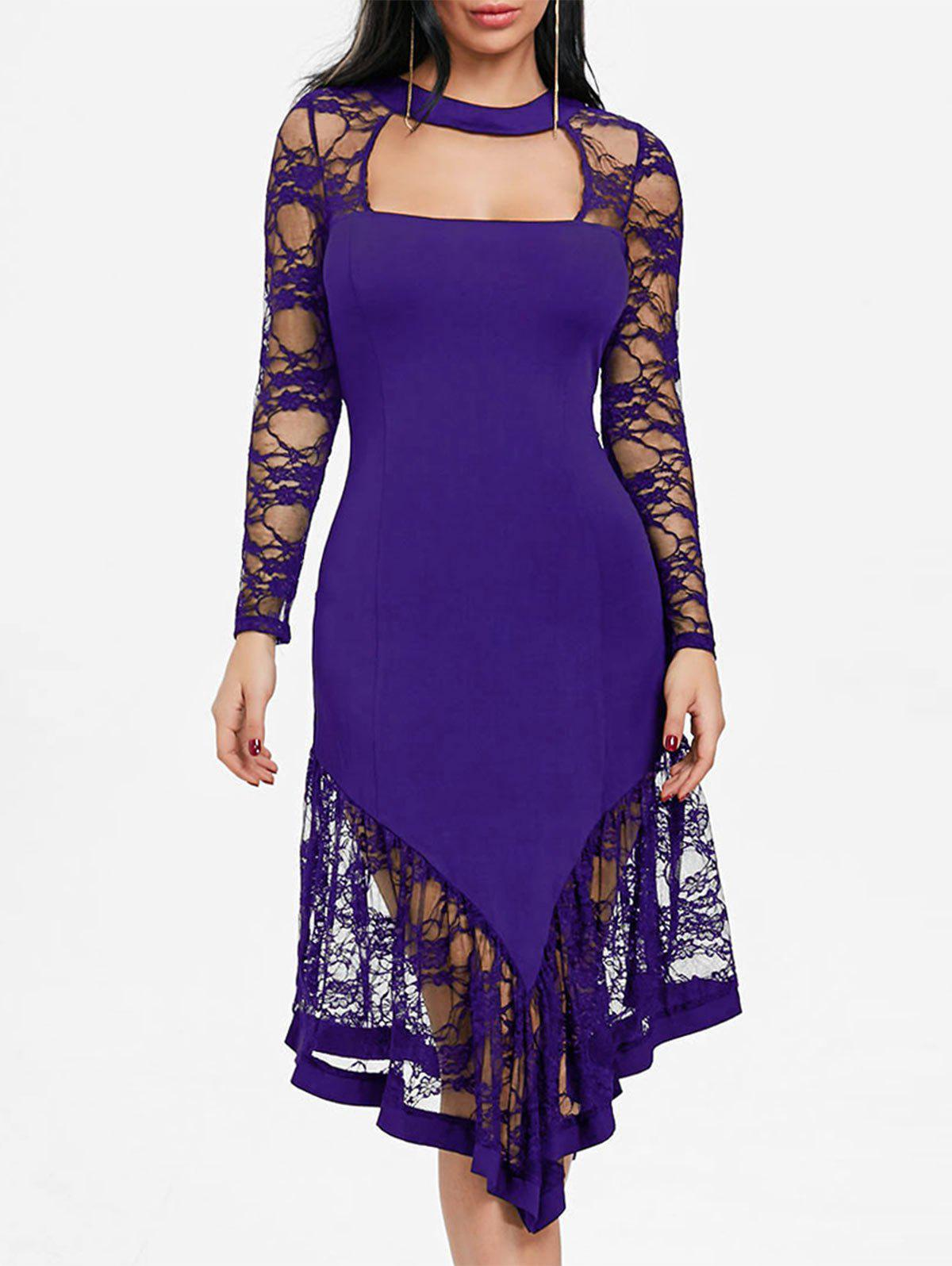 Lace Panel Cut Out Asymmetrical Club Dress - PURPLE XL