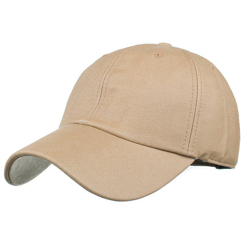 Simple Line Embroidery Magic Sticker Sunscreen Hat - KHAKI