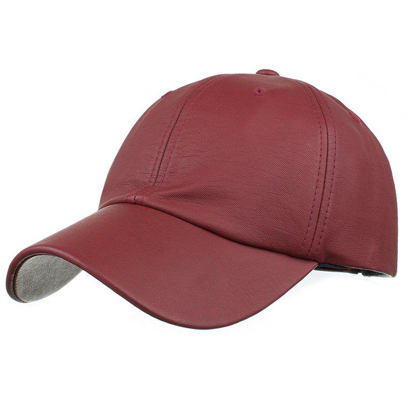 Simple Line Embroidery Magic Sticker Sunscreen Hat - BURGUNDY