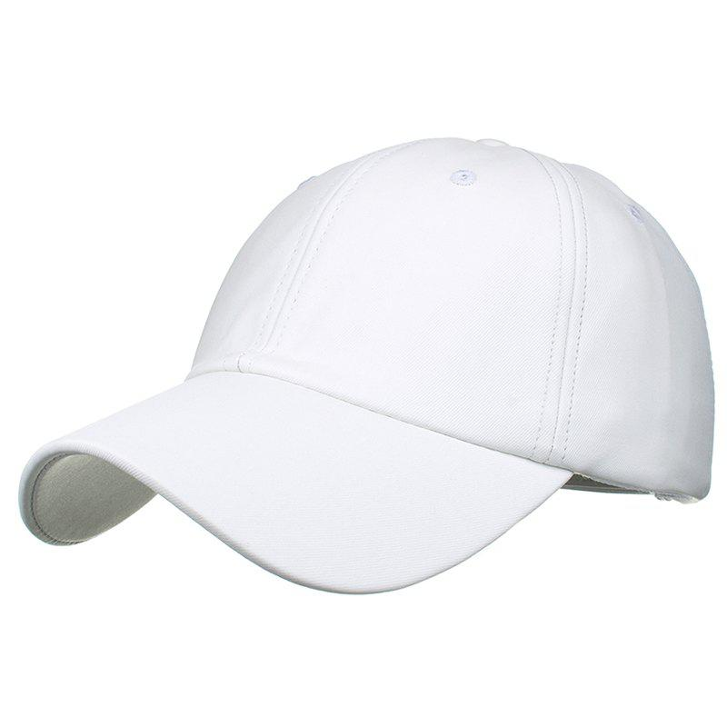 Simple Line Embroidery Magic Sticker Sunscreen Hat - WHITE