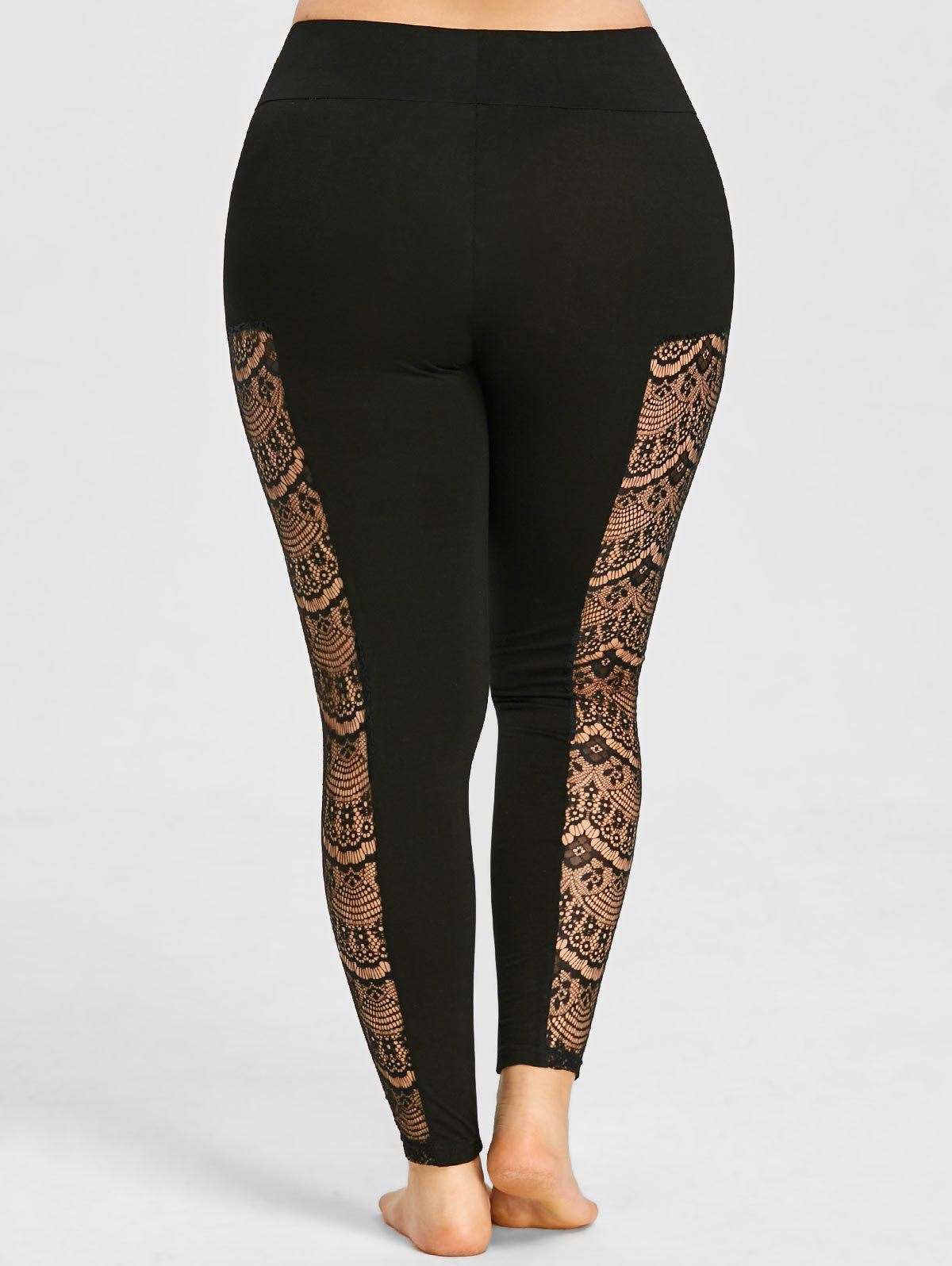 Plus Size See Thru Lace Insert Leggings - BLACK XL