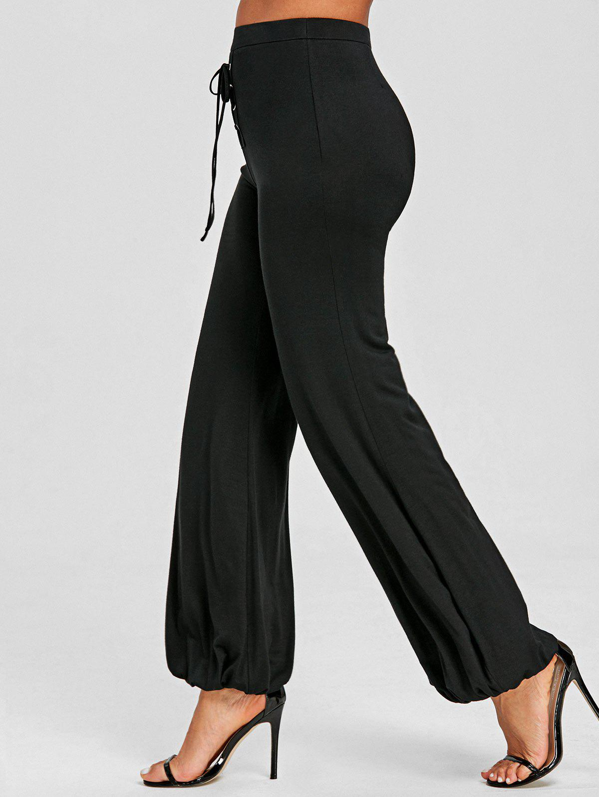 High Waist Lace-up Loose Pants - BLACK L