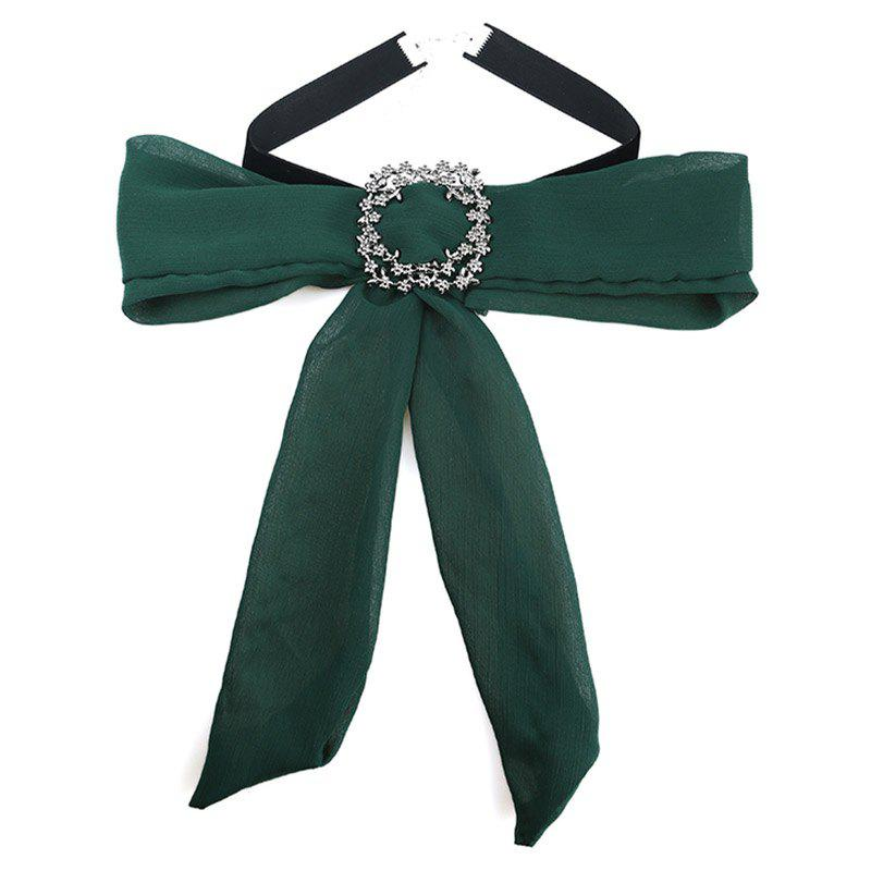 Chiffon Bowknot Rhinestone Choker Necklace cloth bowknot choker necklace