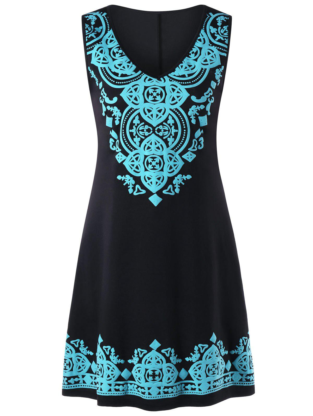 V Neck Sleeveless Tribal Print Dress - BLACK M