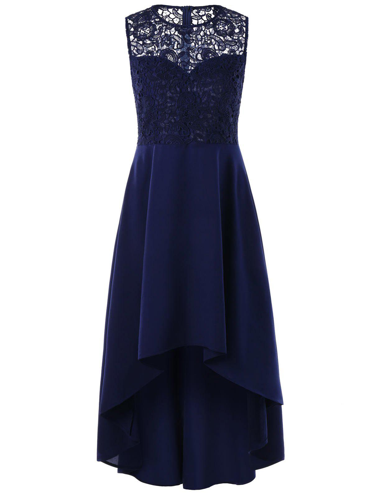 Sleeveless Lace Panel High Low Dress - BLUE 2XL