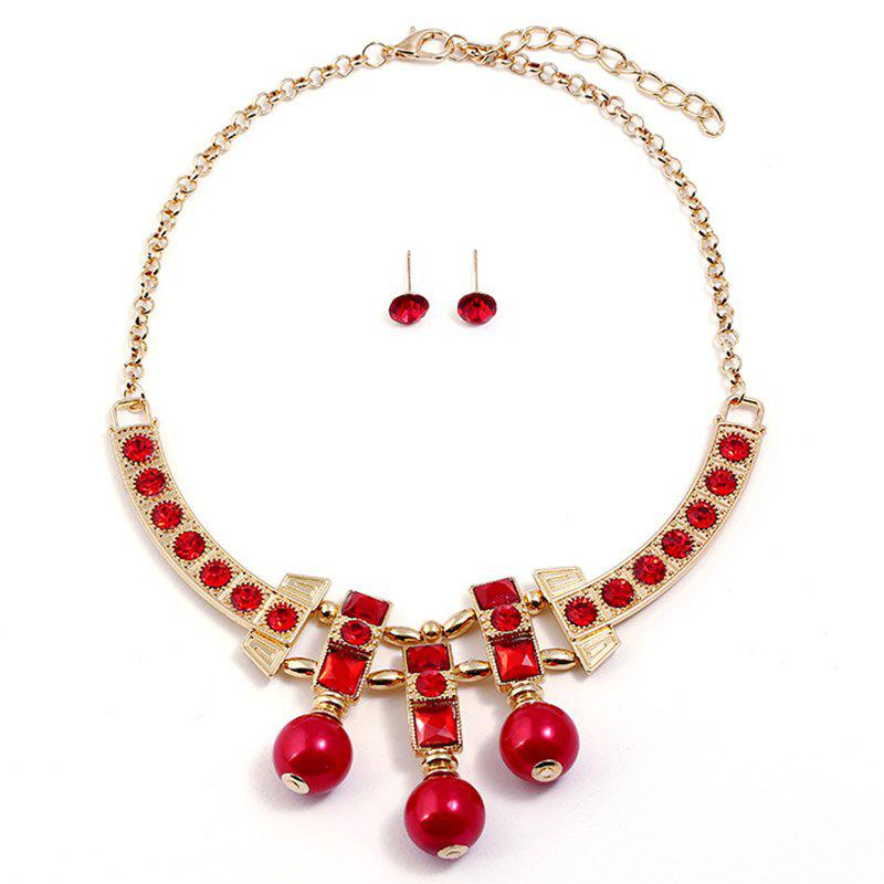 Statement Rhinestone Alloy Bead Necklace and Earrings statement alloy crochet earrings and necklace