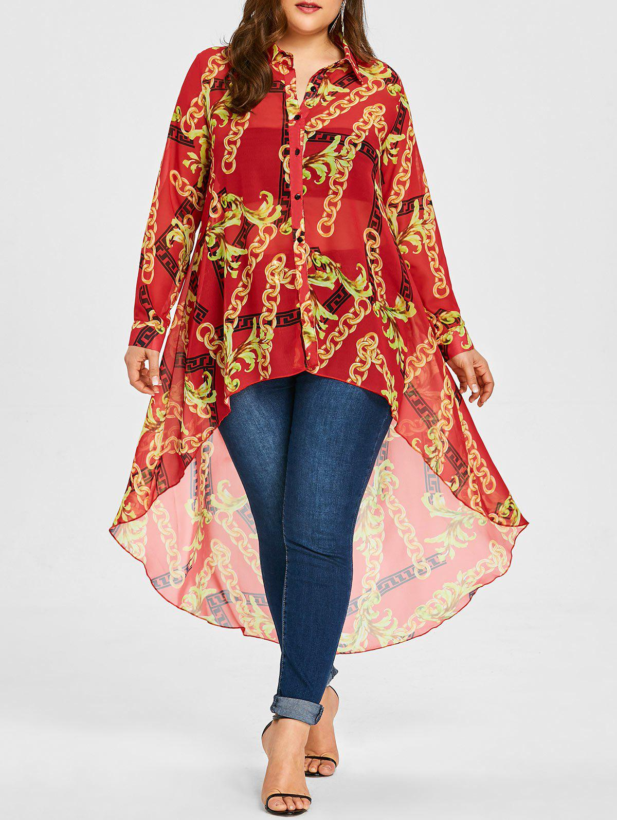 Plus Size Pattern Chiffon Long High Low Top - RED 3XL