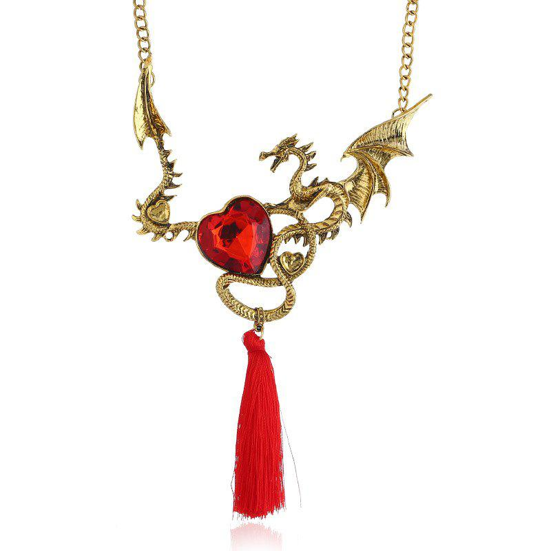 Collier Charmant Motif Dragon et Pompon Orné de Crystal Fantaisie - Or et Rouge