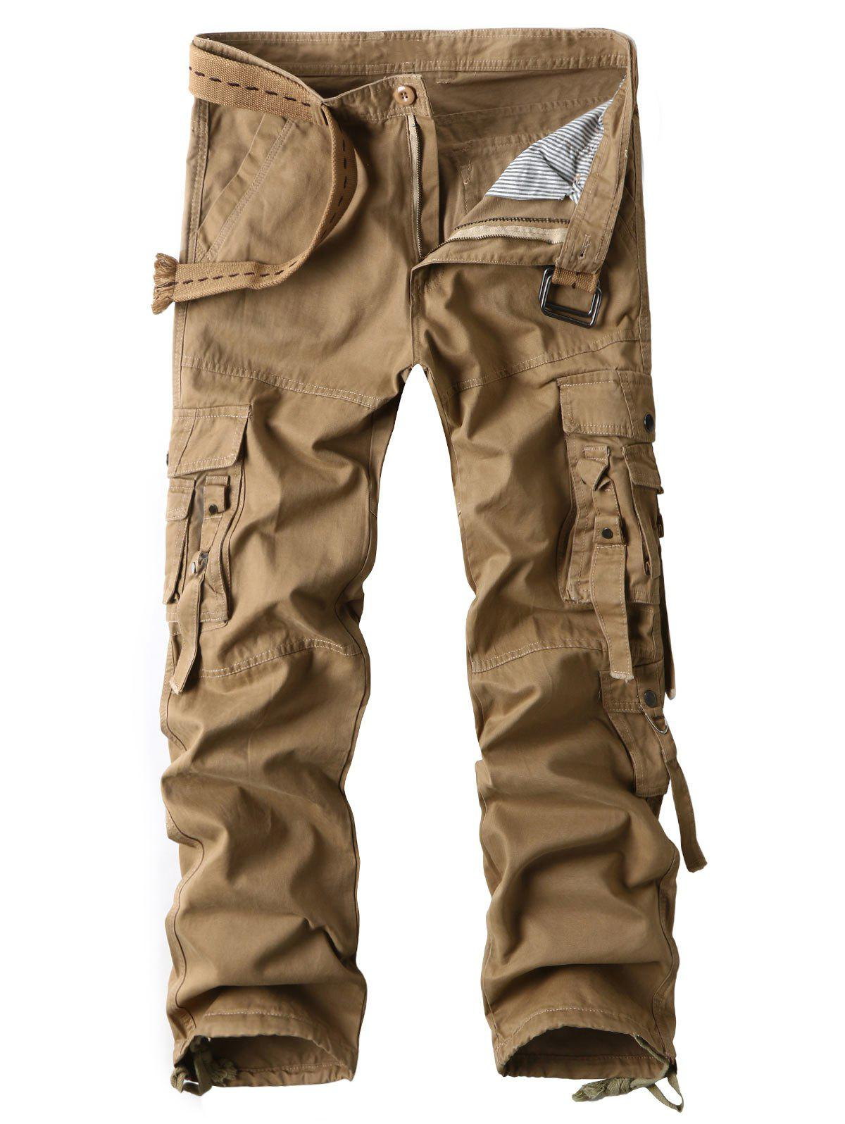 Image of Zipper Fly Straight Cargo Pants with Multi Pockets