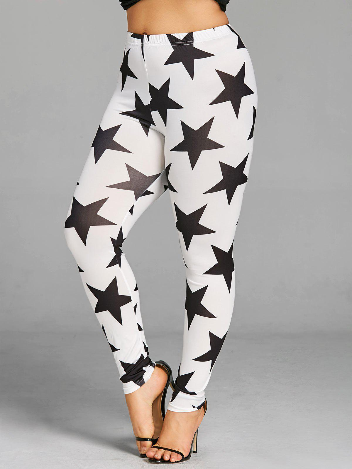 Plus Size Star Graphic Leggings - WHITE/BLACK 5XL