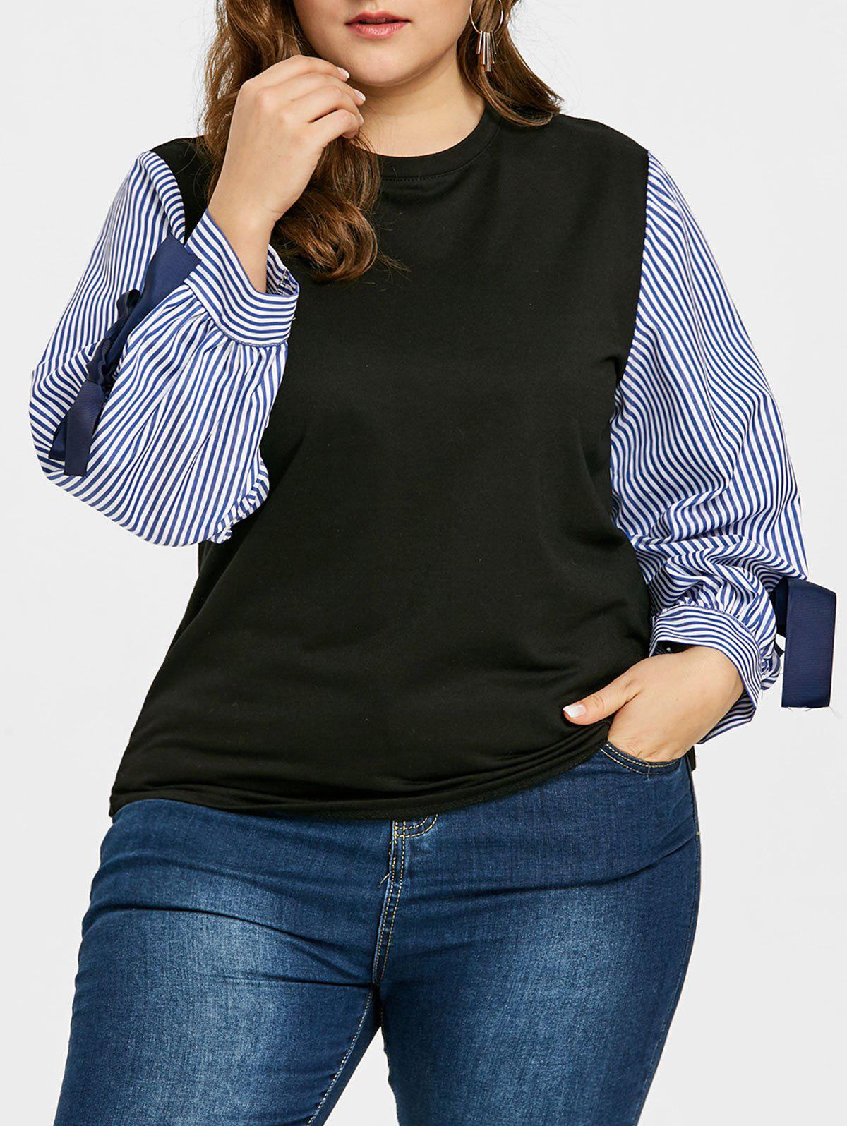 Striped Sleeve Plus Size Bowknot Embellished Top side bowknot embellished plus size sweatshirts page 1