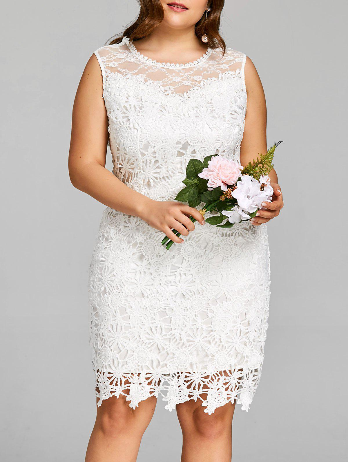 Plus Size Cutwork Lace Sleeveless Dress - WHITE 3XL