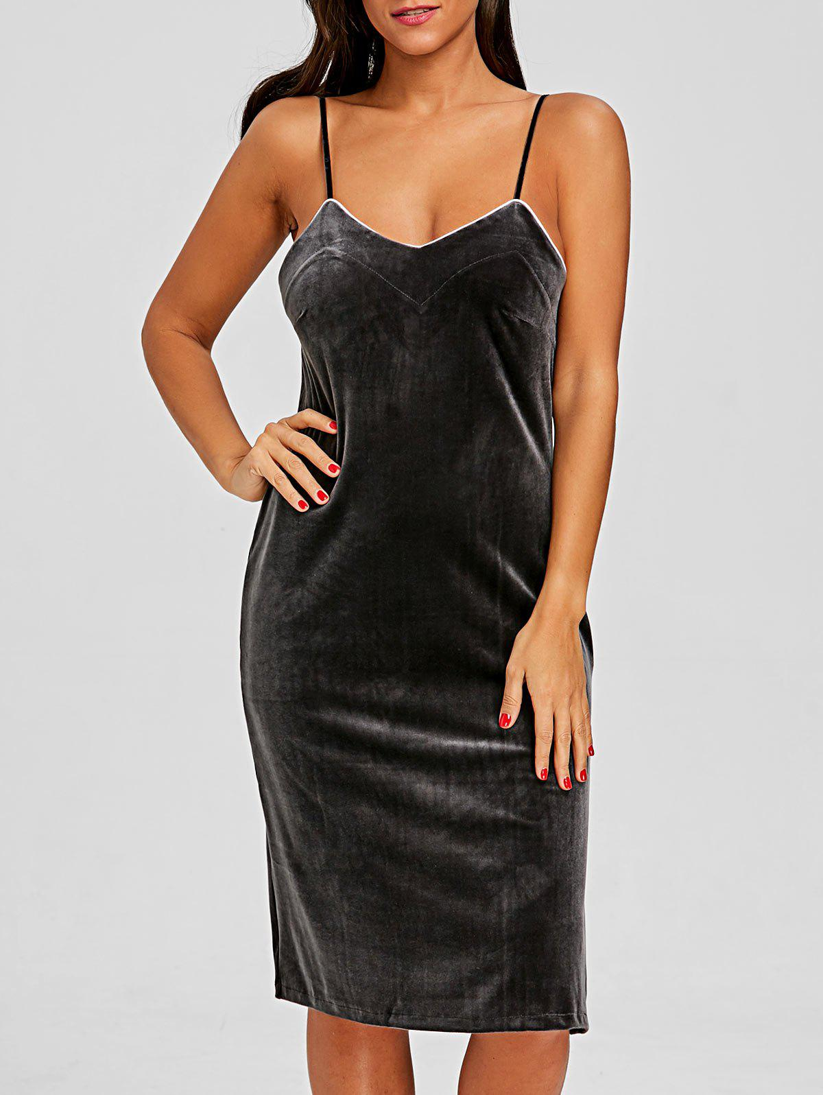 Lingerie Spaghetti Strap Dress - GRAY M
