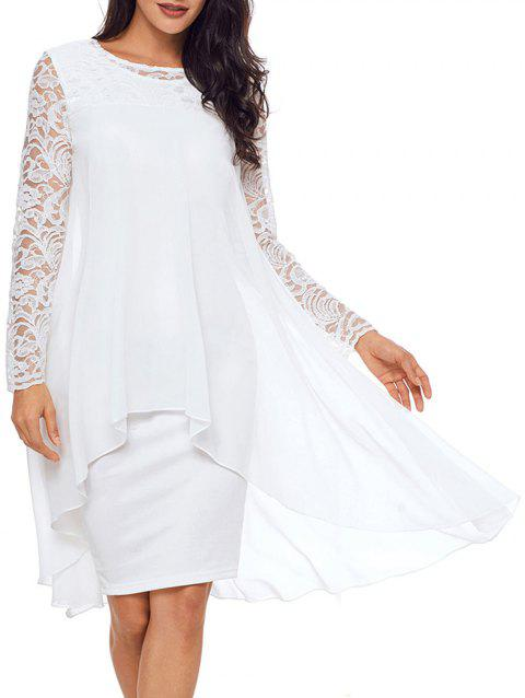 Lace Panel Tiered Bodycon Dress - WHITE S