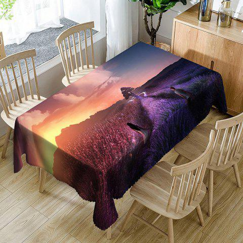 Lovers Walking on Mountain Print Waterproof Table Cloth - PURPLE W54 INCH * L72 INCH
