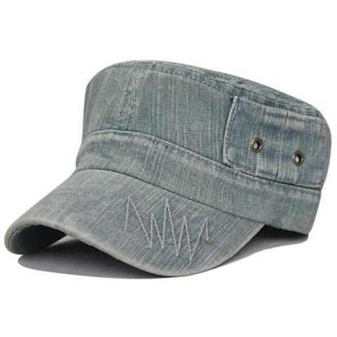 Unique Line Embroidery Washed Flat Top Hat - LIGHT BLUE