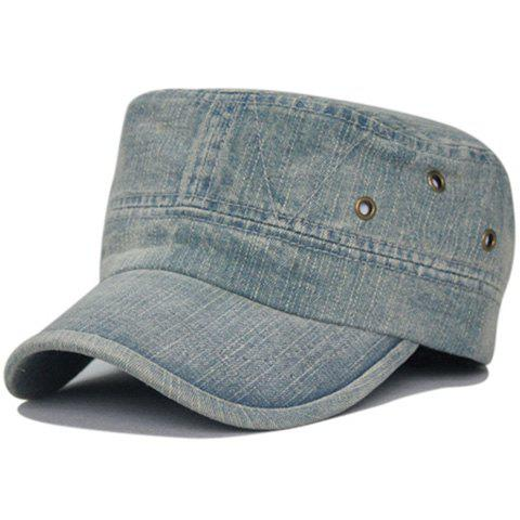 Simple Line Embroidery Washed Military Cap - LIGHT BLUE