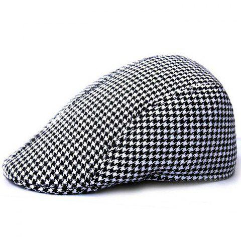 Unique Houndstooth Pattern Duckbill Hat - BLACK WHITE