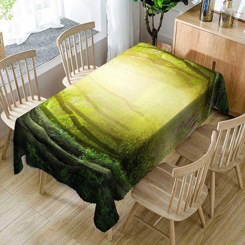 Waterproof Sunshine Forest Pathway Print Table Cloth - GREEN W60 INCH * L84 INCH