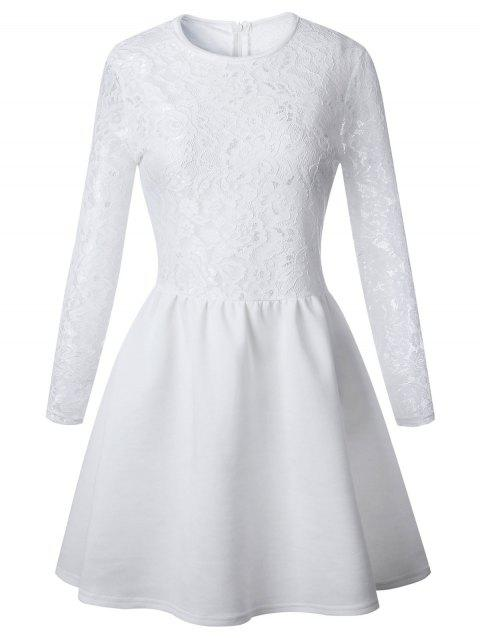 Long Sleeve Lace Flare Skater Dress - WHITE XL