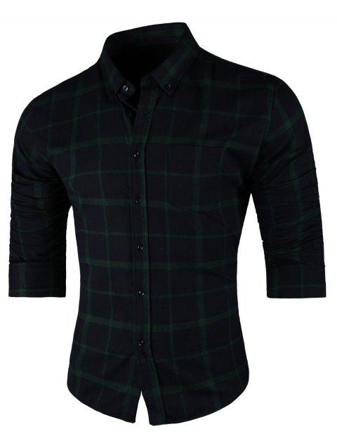 Long Sleeve Button Down Checkered Shirt - CADETBLUE/GREEN 2XL