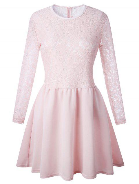 Long Sleeve Lace Flare Skater Dress - PINK XL