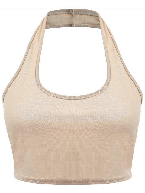 Backless Halter Plunge Crop Top - KHAKI M