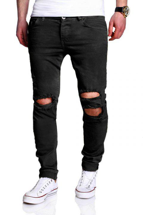 Five-pocket Knee Broken Skinny Jeans - BLACK 36