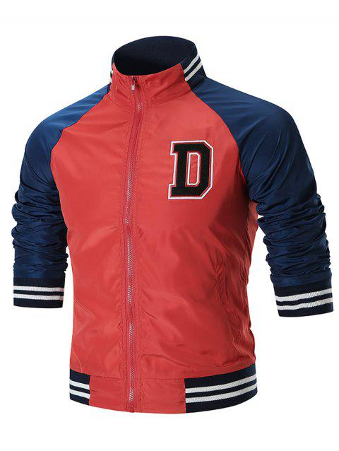 Veste Coupe-vent D Patch en Blocs de Couleurs - Rouge 2XL