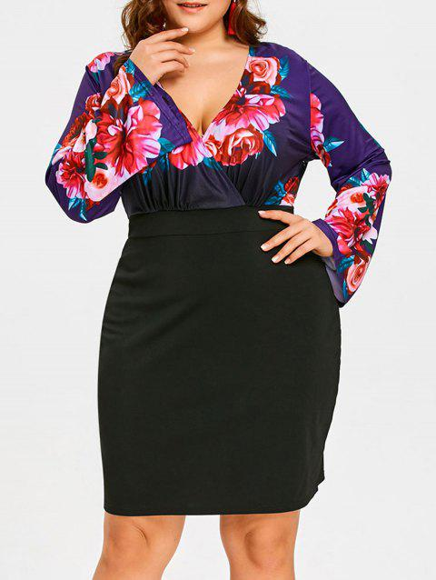 4e8a0258256 LIMITED OFFER  2019 Floral Print Plus Size Long Sleeve Dress In ...