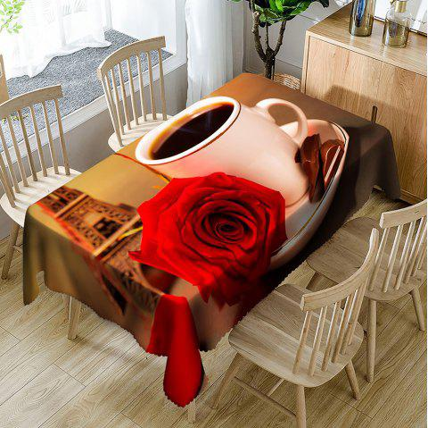 Coffee Rose Eiffel Tower Pattern Waterproof Table Cloth - COLORMIX W54 INCH * L54 INCH