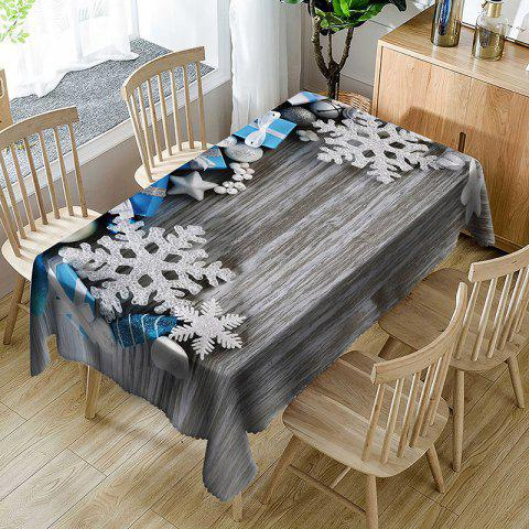 Christmas Ornament Printed Waterproof Table Cloth - WOOD COLOR W54 INCH * L54 INCH