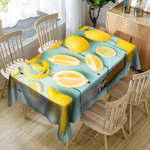 Fruit Lemon Print Waterproof Table Cloth - BLUE/YELLOW W54 INCH * L54 INCH