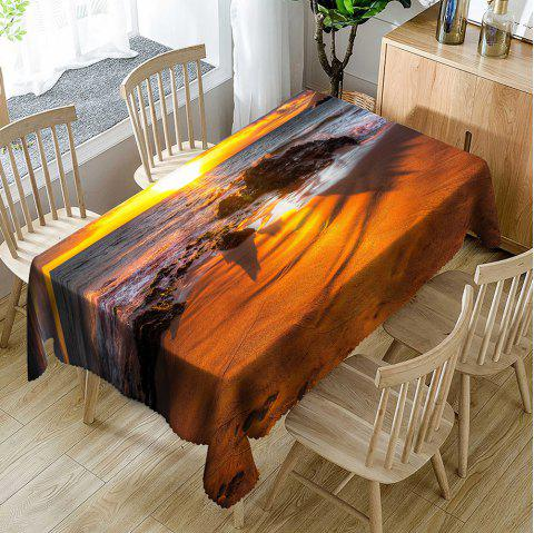 Waterscape Print Indoor Outdoor Table Cloth - YELLOW W60 INCH * L84 INCH