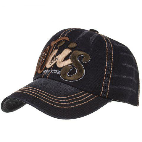 Letter Embroidery Adjustable Sunscreen Hat - BLACK