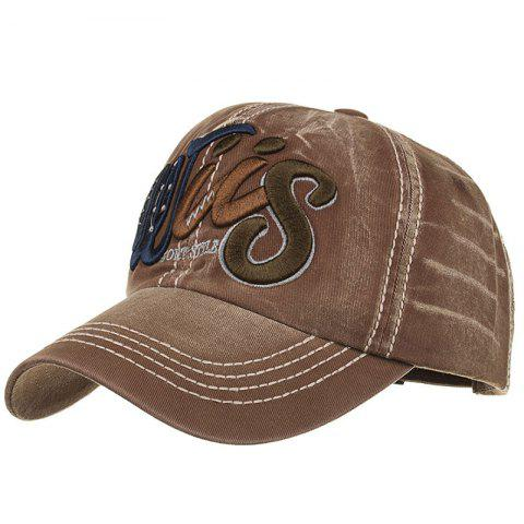 Letter Embroidery Adjustable Sunscreen Hat - CAPPUCCINO