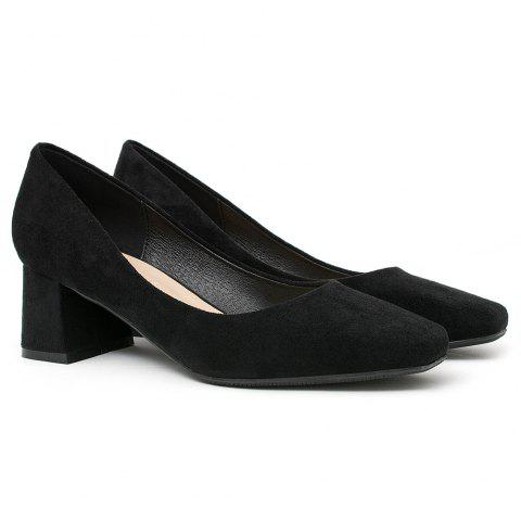 Chunky Heeled Square Toe Pumps - BLACK 40