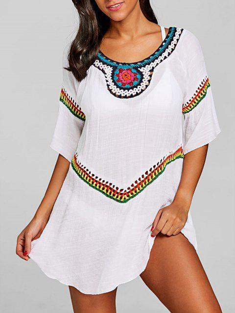 Bohemian Crochet Cover Up Top - WHITE ONE SIZE