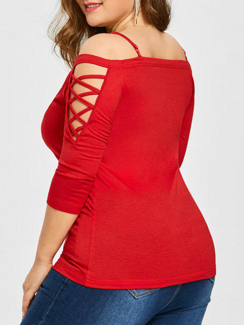 Off The Shoulder Criss Cross Sleeve Top - RED 4XL
