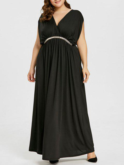 Empire Waist Maxi Plus Size Dress - BLACK 2XL