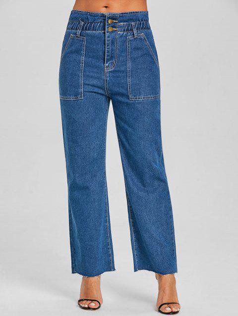 Wide Leg Raw Hem Jeans - DENIM BLUE L