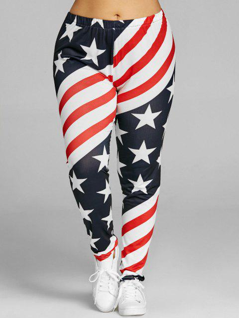 Patriotic Striped Star Print Plus Size Leggings - US FLAG 2XL