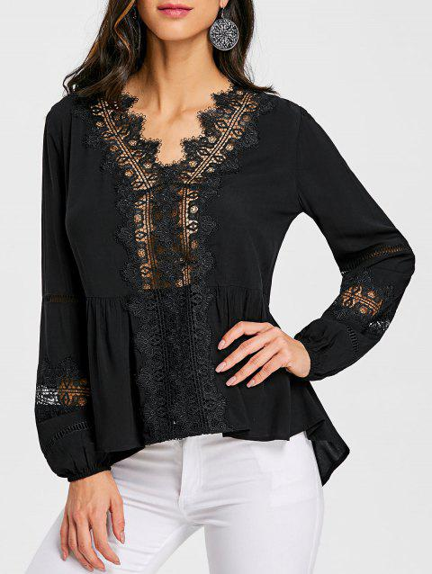 Lace Trimmed Hollow Out Blouse - BLACK 2XL