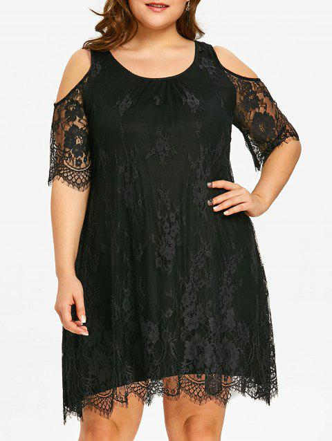Plus Size Eyelash Lace Cold Shoulder Dress - BLACK XL
