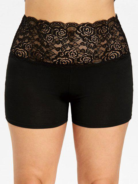 Plus Size Lace Panel Scalloped Safety Shorts - BLACK XL