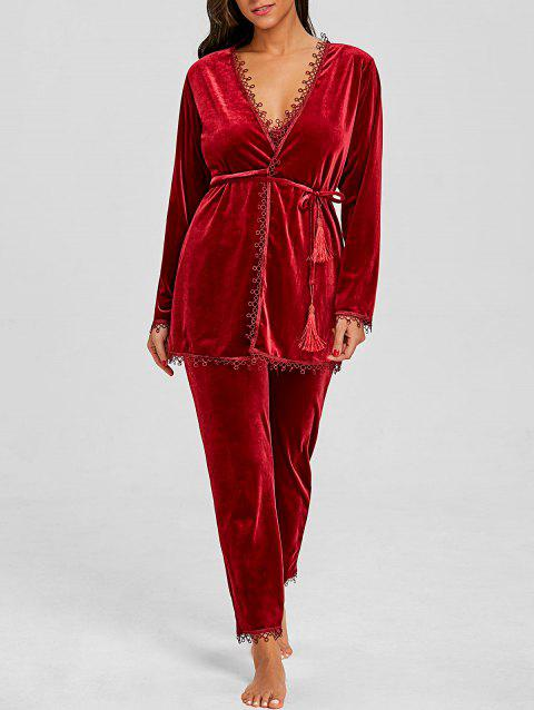 Velvet Pants and Chemise with Robe 3 Piece Pajamas - WINE RED M