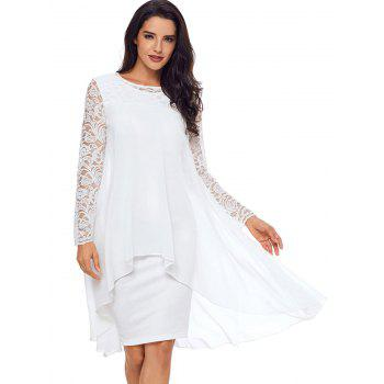 Robe moulante à empiècements en dentelle - Blanc M