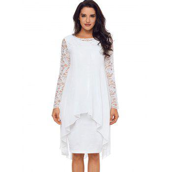 Lace Panel Tiered Bodycon Dress - WHITE XL